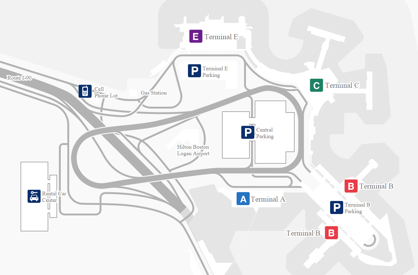 bos airport terminal map Logan Airport Limo Service bos airport terminal map